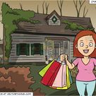 A Woman Smiles In Pleasure After A Shopping Spree and Abandoned House Background