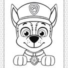 Printable Paw Patrol Chase Head Coloring Page