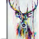 Watercolor Deer Large Canvas Wall Art Stag Painting Animal Deer Picture Print On Canvas Animal Pictures for Home Decor Living Room Bedroom Bathroom Framed Ready to Hang