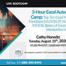 3 Hour Excel Automation Boot Camp Top Ten Excel Functions, Lookup Functions VLOOKUP, HLOOKUP, MATCH, INDEX, Basics of Excel Macros with an Introduction to VBA