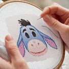 EEYORE EMOJI Easy Cross Stitch Pattern PDF, Cute Nursery Decor, Emoji Winnie The Pooh Tiger Counted