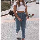 cute fall outfits with mom jeans