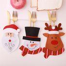 Christmas Cutlery Bag Dinner Tableware Holder Pocket,Xmas Decoration Snowman Santa Elf Reindeer Holiday Ornaments ,G