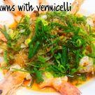 Steam prawns with vermicelli