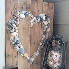 Shell Heart Sign  Beach Sign  Shell Art  Beach Wedding Sign  Anniversary Gift  Beach House  Wedding Guest Book
