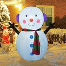 4 FT Christmas Inflatable Outdoor Cute Snowman, Blow Up Yard Decoration Clearance with LED Lights