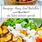 Geniales Rezept für Honig Senf Röstkartoffeln als leckerer gesunder Salat mit Feta