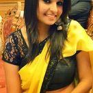 Beautiful Girl in Black Yellow Saree