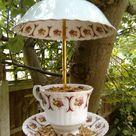 Upcycled vintage teacup and saucer birdfeeder