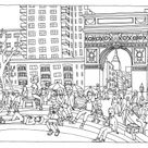 New York Washington Square - Coloriages New York - Just Color