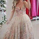 Flower lace wedding dress floral beige tulle grey wedding   Etsy