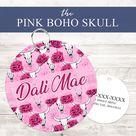 Pink Boho Skull Personalized Pet ID Tag - Double Sided / Boho Skull Sml Round