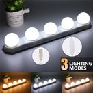 USD$18.9 5 Bulb Hollywood Led Dimming Makeup Mirror Light Suction Cup Install Dresser Dresser Table Lamp Bathroom Wall Lamp USB Power