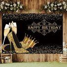 Happy 50th Birthday Backdrop Glitter Gold Balloons Photography   Etsy