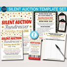 Silent Auction Flyer Ticket Set, Fundraiser Event Signs, School Pto Pta Fundraising, Nonprofit Charity, Bidding Forms, DIY EDITABLE TEMPLATE