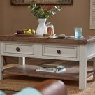 Limed Pine Top & Light Grey Painted Coffee Table