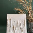 Botanical bas-relief with wheat ears decorated with gold leaf by DinaArtDecor. Square wall decor