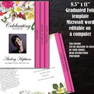 Funeral Program Template 8 pages | 8 Page Bi-Fold Graduated Funeral Program | Memorial Program Template | Tropical Hawaiian Flowers