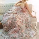 1 yard Lace Fabric Ivory Organza 3D Pink Chiffon Rose Floral Embroidery 47