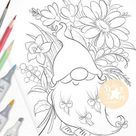 Spring Bee Tomte Gnome UNCOLORED Digital Stamp Coloring Page   Etsy