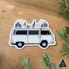 Camper Van Forest Mountain Sticker