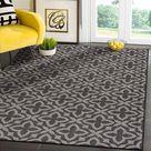 Tribal Area Rugs for Indoor Outdoor Moroccan Dark Grey / Light Grey - 6x9