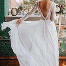 Long Sleeves Backless Beach Long Wedding Dresses Online, Cheap Bridal Dresses, WD527