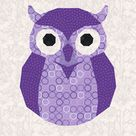 Owl, Foundation Paper Piecing Pattern (FPP Pattern), Quilt Block, 4 sizes. Instant Download