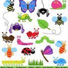 Bugs Clipart Clip Art Insects Clipart Clip Art Vectors  | Etsy
