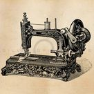 Vintage Sewing Machine Illustration Printable 1800s Machines Antique Print Instant Download Clip Art Retro Black and White Drawing ZS