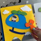 Quiet book with transportation, busy book, felt activity book for baby, sensory games for baby