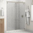 Delta Simplicity 60 In. X 71-1/2 In. Mod Semi-Frameless Sliding Shower Door In Nickel & 1/4 In. (6Mm) Clear Glass Tempered Glass in Gray | Wayfair