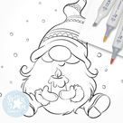 Christmas Gnome with a Candle. Digi Stamp Nordic | Etsy