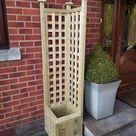 The Stroud  Handmade Rustic Tanalised Timber Corner Trellis Planter Trough