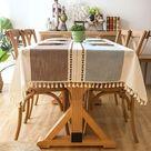 Plaid Tassel Tablecloth