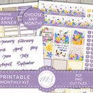 Printable FLORAL Monthly Planner Stickers, Classic Happy Planner Monthly Stickers Kit, Spring Monthl