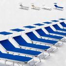 BEACH AND GARDEN DESIGN 20 Sonnenliegen aus Aluminium Klappbar mit Sonnendach für Strand Meer