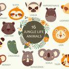 Jungle portrait animals Wild animals clipart Tropical animals   Etsy