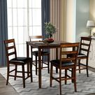 Red Barrel Studio® Eroftei 5   Piece Counter Height Dining Set Wood/Upholstered Chairs in Brown, Size 36.0 H x 35.0 W x 35.0 D in   Wayfair
