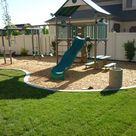 Backyard playground in the landscaping in South Jordan, Utah in South Jordan