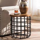 Carie Industrial Wood & Metal Coffee Table - Brown
