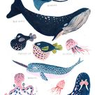 Under the Sea / Set of Two / Nursery Wall Art / Whale /   Etsy