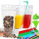 Zipper Drink Bag Clear Stand-Up Plastic Pouches Bags with Drink Straws, Heavy Duty Hand-Held Translucent Reclosable Heat-Proof Bag 2.5 Bottom Gusset