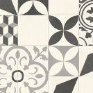 Sol Vinyle Textile Rénove - Effet carreaux de ciment arabesques terracotta et bleu