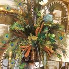 Pictures!!!...Feather!!!...Artificial Silk flower Arrangement with Feather!!!!