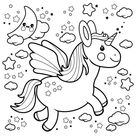 Cute unicorn flying in the night sky. Black and white coloring page