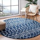 Moroccan Boho Distressed Non-Shedding Stain Resistant Living Room Bedroom Area Rug, 3' X 3' Round