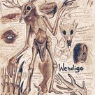 Wendigo Monster Anatomy Art Print