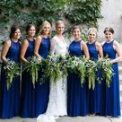 Royal Blue Jewel Neckline Sleeveless Long Bridesmaid Dresses, WG06   US12 / Black