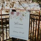 RALEIGH - Soft Floral Wedding Welcome Sign, Roses and Peonies, Neutral wedding sign, Boho Template, Instant Download, floral wedding sign